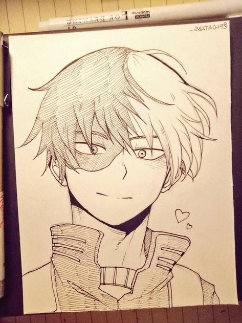 boy-black-and-white-pencil-sketch-anime-drawing-ideas-wooden-table