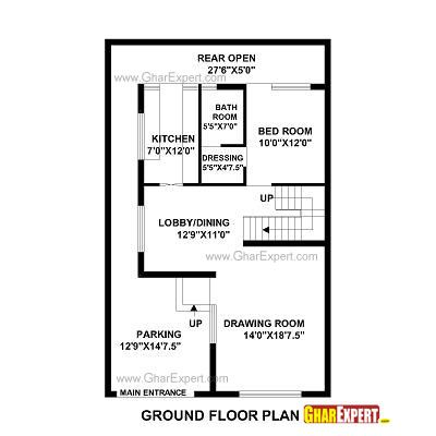 House Plan For 28 Feet By 48 Feet Plot Plot Size 149 Square Yards Gharexpert Com House Map How To Plan House Plans