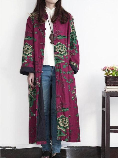 Vintage Printed Long Trench Coat