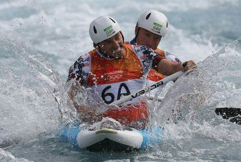 RIO DE JANEIRO, BRAZIL - AUGUST 11: David Florence of Great Britain and Richard Hounslow of Great Britain on their way to cross the finish line during the Men's Canoe Double (C2) Final on Day 6 of the Rio 2016 Olympics at Whitewater Stadium on August 11, 2016 in Rio de Janeiro, Brazil. (Photo by Rob Carr/Getty Images)