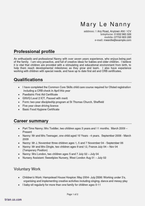 32 Elegant Nanny Job Description For Resume In 2020 With Images