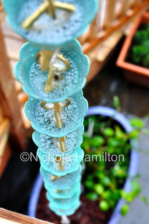 A Rain Chain is a great way to use rain to water plants and not damage them.