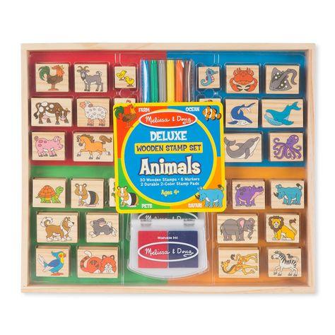 Melissa Doug Deluxe Animals Wooden Stamp Set Multicolor Wooden Stamps Ink Pads Wooden Animals