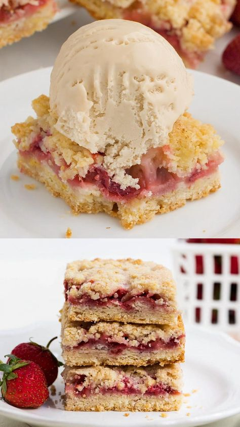 Strawberry crumb bars made with an easy crumb crust, strawberry filling and buttery crumb topping. The perfect summer dessert made with fresh, juicy strawberries! #strawberries #strawberry #strawberrydesserts #desserts #fruitdesserts #summer #summerdesserts #dessertbars #recipes #videos #recipevideos #videorecipes #foodvideos #iheartnaptime