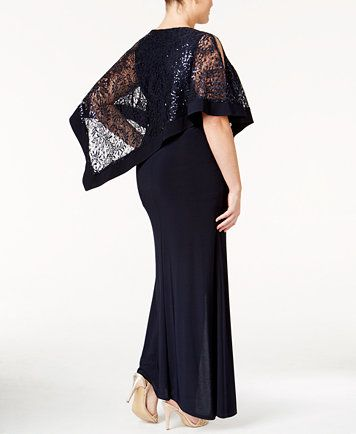 Image 2 of R&M Richards Plus Size Sequin-Overlay Gown ...