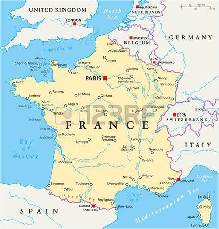Francia Mapa Politico Con Los Capitales De Paris De Las Fronteras