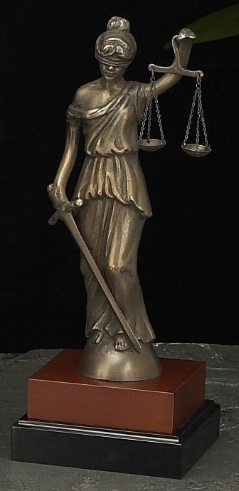Lady Justice Bronze Sculpture on Wood Base T.P.