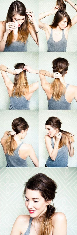 LA QUEUE DE CHEVAL BASSE STYLÉE - Avec une base légèrement crêpée, cette queue basse est la parfaite coiffure coiffée/décoiffée.