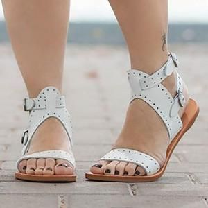 Adjustable Buckle Open Toe Casual Flat Sandals | Womens
