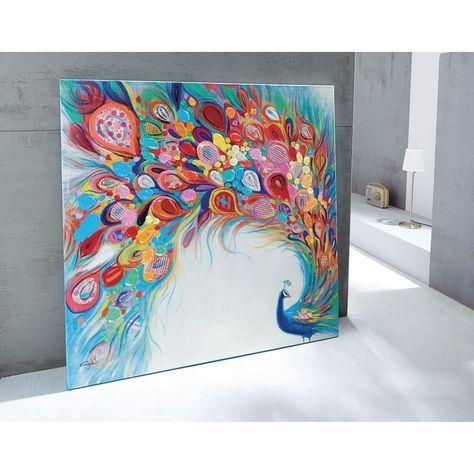 Farbenfrohes XL Bild Pfau Acryl auf Leinwand bunt: Amazon.de ...