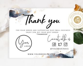 Pin By Tanya Andrade Graphic Design On Ecommerce Packaging Design Templates In 2021 Thank You Card Design Thank You Cards Business Thank You Cards