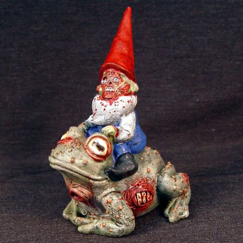 Zombie Gnome riding on a Zombie Toad via Etsy.