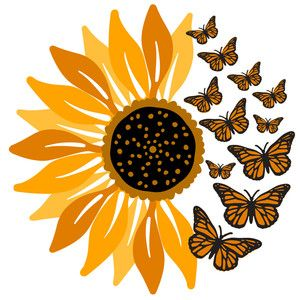 Butterfly Discover Silhouette Design Store Design Store Product ID 306781 Sunflower Drawing, Sunflower Art, Sunflower Design, Butterfly Drawing, Sunflower Stencil, Monarch Butterfly Tattoo, Butterfly Outline, Sunflower Pattern, Butterfly Painting