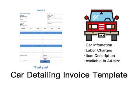 Car Detailing Invoice Template Invoice Template Invoice Design Invoice Maker