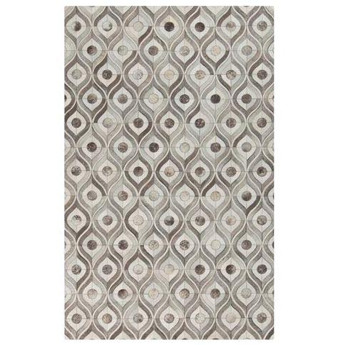 Grey Ivory Cowhide Rug 2x3
