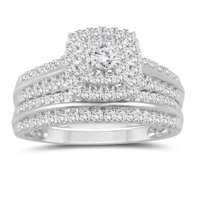 1 Carat Tw Diamond Engagement Ring And Wedding Band Bridal Set In 10k White Gold Rose Gold Wedding Band Diamond Aquamarine Engagement Ring Engagement Rings