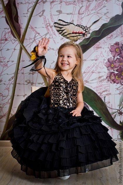 8f78d25724b Нарядное платье для девочки из черного шифона Королева. Handmade ...
