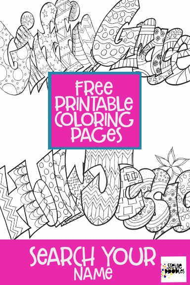 Search Your Name — Stevie Doodles  Name coloring pages, Free