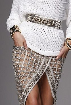 Anti-real-woman-stylishness-Balmain Spring 2014 -- one TREND I cannot get into - first of all you would have to have stick thighs that don't touch and risk the possibility of catching a cold in your lady garden :) JUST SAYIN> looks good on her.