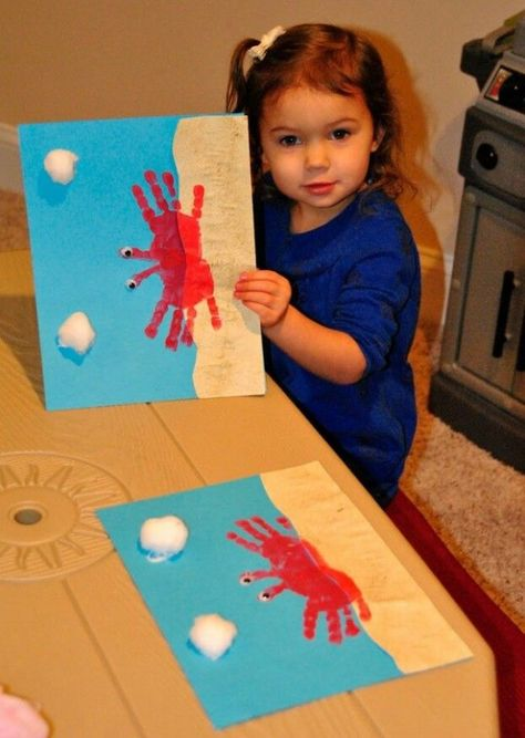 Hand Print Crab Beach Craft - Fun activity to do with kids and they make wonderful gifts for Grandma and Grandpa!