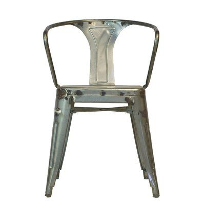 Design Tree Home Metal Stacking Slat Back Arm Chair In Galvanized