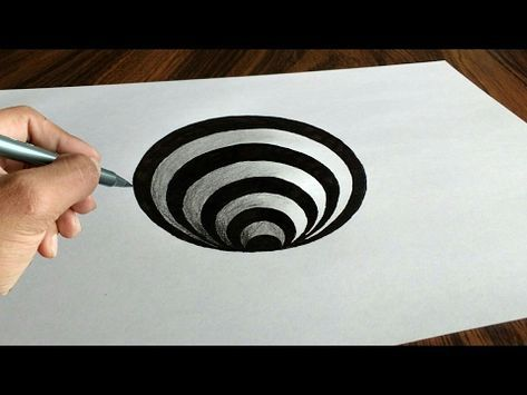 Very Easy 3d Trick Art How To Draw A Round Hole On Paper With