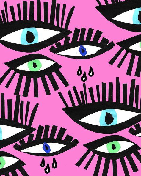 💜💗💜Eyes with Pink Background 💜💗💜 Decoupage Vintage, Arte Hippy, Textures Patterns, Print Patterns, Eye Illustration, Posca Art, Eye Art, Art Inspo, Pattern Design