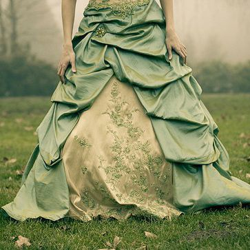 Never seen a green dress before. Always figured, to fit my colors of purple and green, the dress would have purple accents with green flowers. This makes me think I should reverse the colors!