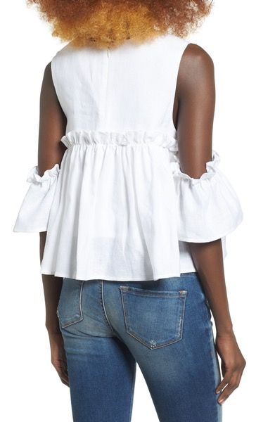 Main Image - J.O.A. Linen Cold Shoulder Top