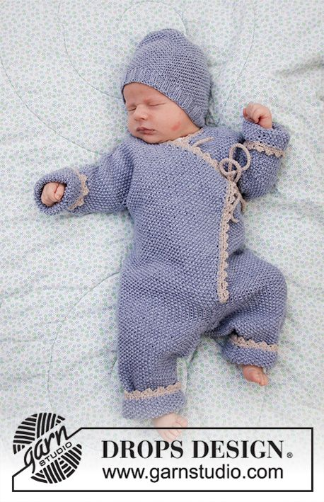 Knitted Overall And Hat For Baby With Moss Stitch Garter Stitch