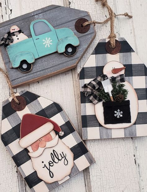 wood and fabric crafts Seasonal Wood Painting Craft Patterns Christmas Wood Crafts, Christmas Gift Tags, Diy Christmas Ornaments, Rustic Christmas, Christmas Projects, Handmade Christmas, Holiday Crafts, Fall Crafts, Christmas Pallet Signs