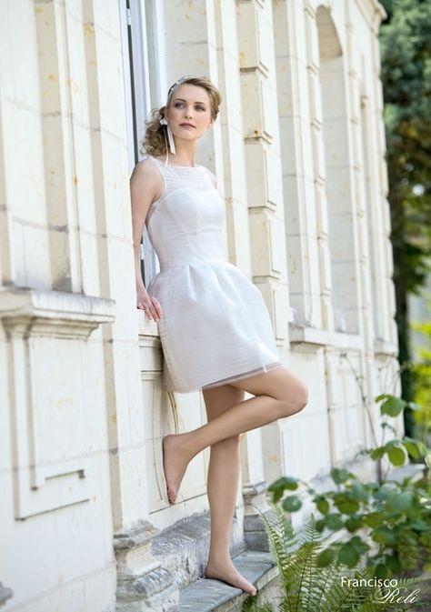 Vestido de Novia de Francisco Réli (ROMANE), corte en a, escote ilusión, corto, sin mangas