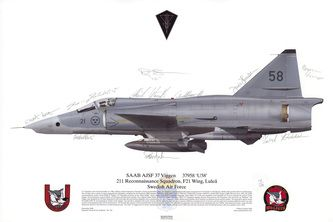 Ajsf 37 Viggen Signed Print Squadron Prints Wwii Aircraft Military Aircraft Prints