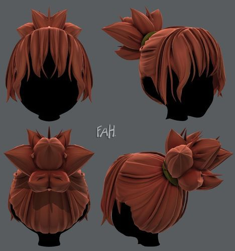 3d Hair Style For Girl V45 3d Model Concept Art Characters Line Art Drawings Character Design Animation