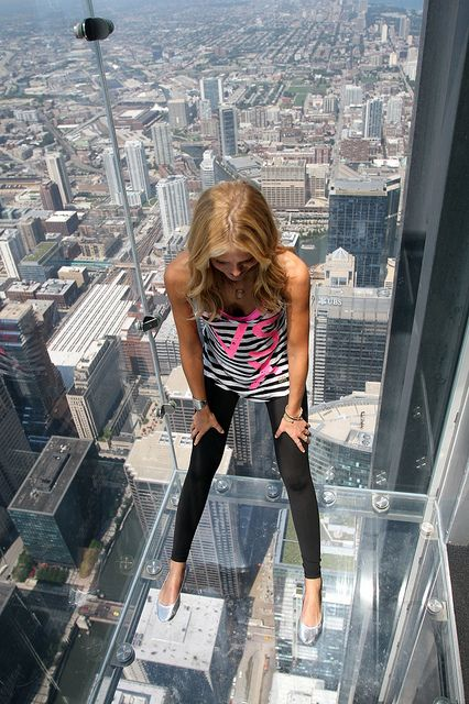 Sky Deck, Chicago's Sears (Willis) Tower ~ Victoria's Secret Supermodel Erin Heatherton.  Photo: skydeckchicago via Flickr