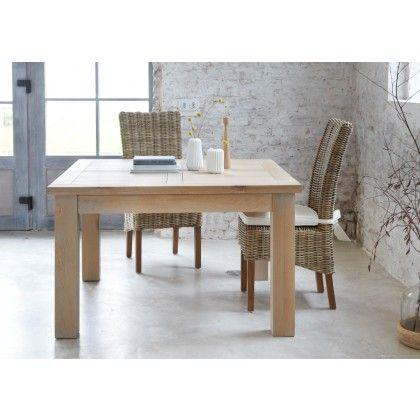Table De Repas Carree Chene Massif Avec Allonge Bella 125cm Table De Repas Carree Salle A Manger Rotin Table Extensible