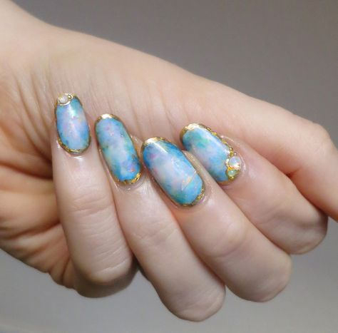 Some more opal nails inspired by @basecoat-topcoat.