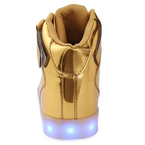 ANLUKE Kids High Top Light up LED Shoes 11 Colors Sneakers as Gift for Boys  Girls Men Women Gold 35     You can get additional details at the image  link. 2b53f09cd