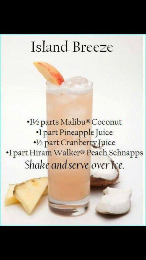 Island Breeze ~ Malibu Rum, Peach Schnapps, Pineapple Juice, & Cranberry Juice by # Food and Drink ideas cranberry juice Island Breeze Liquor Drinks, Cocktail Drinks, Beverages, Malibu Rum Drinks, Coconut Rum Drinks, Malibu Coconut, Tropical Alcoholic Drinks, Alcoholic Shots, Alcholic Drinks