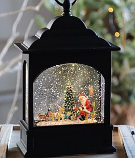 Santa and Dogs Lighted Water Lantern with Swirling Glitter Christmas Home Decoration