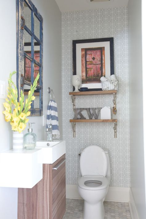 Neutral powder room. Grown-Ups | The Mirror And The Drape