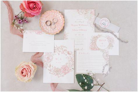 Dusty Rose, rose gold, and White invitation suite | Oak Hills Utah Dusty Rose and Gray Summer Wedding | Jessie and Dallin Photography #utahwedding #utahsummerwedding #summerwedding #mountainwedding #rockymountainwedding #blushandgraywedding #blushandgray #oakhillsutah #utahweddingvenue