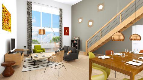Salon familial avec cuisine ouverte Intérieurs maisons 3D