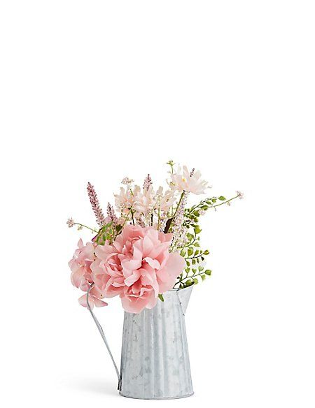 Peony Hydrangea Tin Jug M S Peonies And Hydrangeas Artificial Flowers Artificial Flower Arrangements