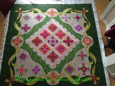 "My quilt ""Bouquet Royale"", finished (soon) 2015 Patchwork of the Crosses blocks  www.quiltsoflove.blogspot.com Margaret Solomon Gunn"