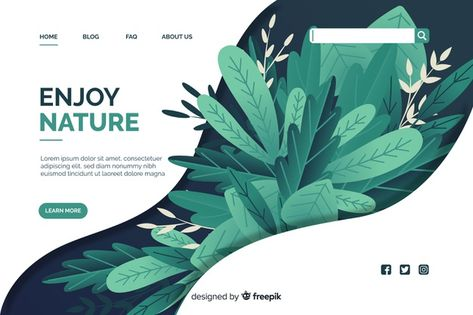 Download Flat Nature Landing Page Template for free