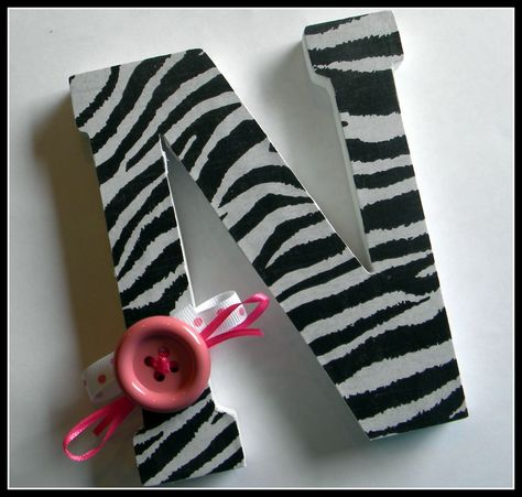 Wooden Letters  - Nursery Decor, Kids Rooms, Showers, Gifts, or Home- Zebra Print. $7.00, via Etsy.