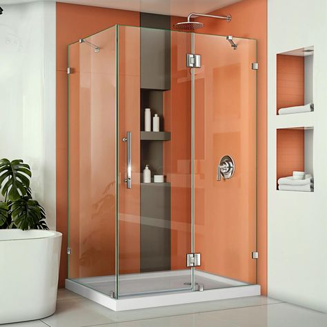 Dreamline Quatra Lux 46 3 8 In W X 34 1 4 In D X 72 In H Frameless Corner Hinged Shower Enclosure In Chrome Shen 1334460 01 The Home Depot Frameless Shower Enclosures Chrome Shower Door Frameless Shower Doors