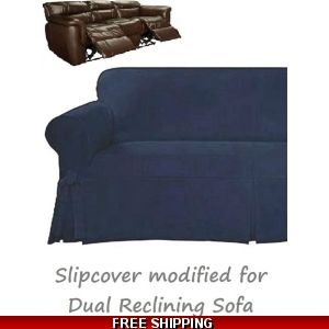 Dual Reclining Sofa Slipcover Suede Chocolate Sure Fit Recliner Couch Reclining Sofa Dual Reclining Loveseat Slipcovers