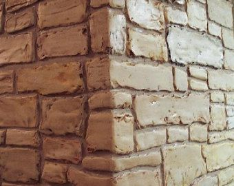 Stencil Wall Stencil Raised Plaster Cottage Stone Stencil Etsy In 2020 Stencils Wall Stencil Painting Faux Stone Walls